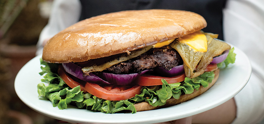 Double Eagle's green chile cheeseburger.
